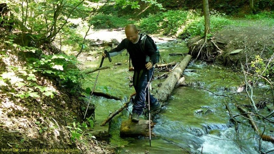trudna przeprawa przez potok Olchowaty