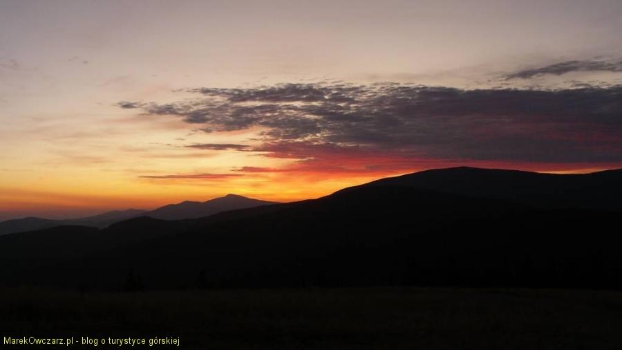 wschód słońca z Hali Rysianki