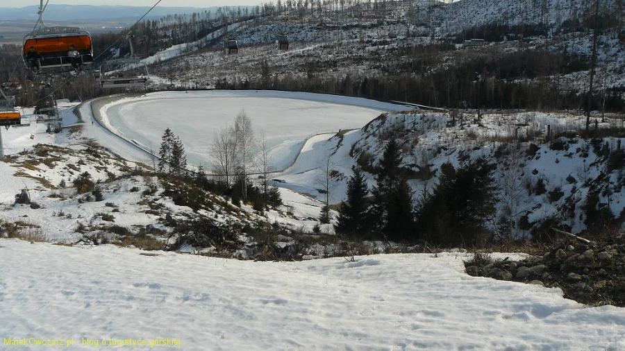 zbiornik w Tatrzańskiej Łomnicy na końcu nartostrady