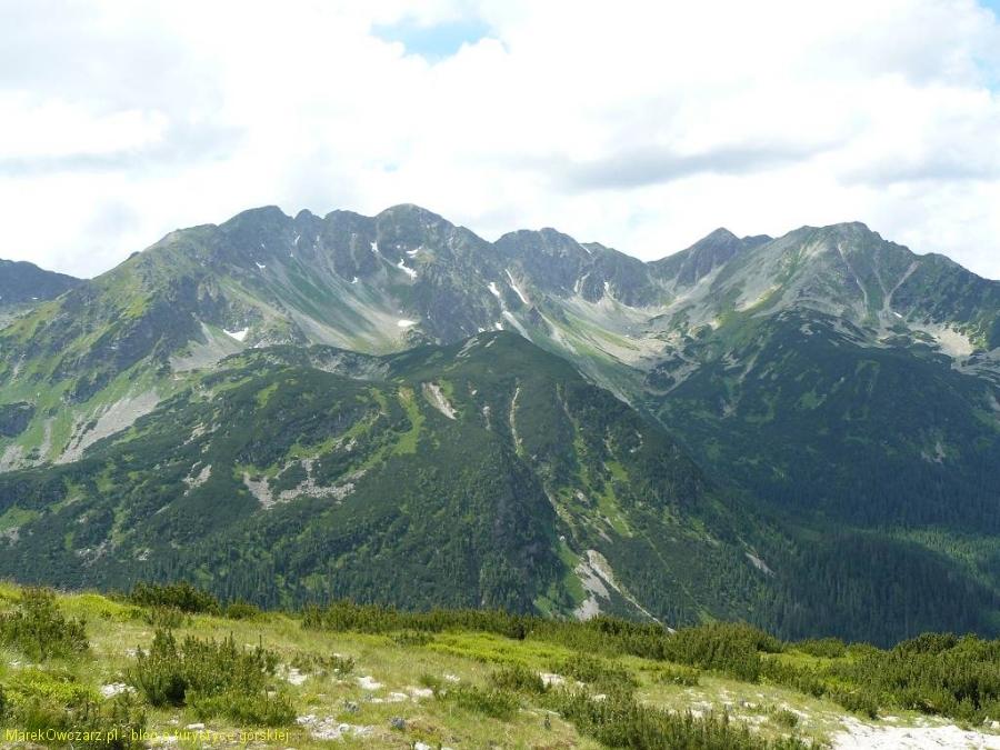 panorama najhorniejszych grani Tatr Zach.- od Trzech Kop przez  Banówkę po Spaloną Kopę