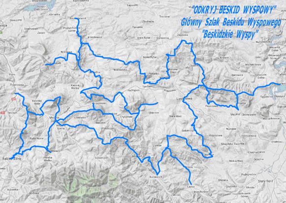 """mapa Głównego Szlaku Beskidu Wyspowego """"Beskidzkie Wyspy"""""""