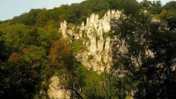 skała Rękawica widziana z dna Doliny Prądnika