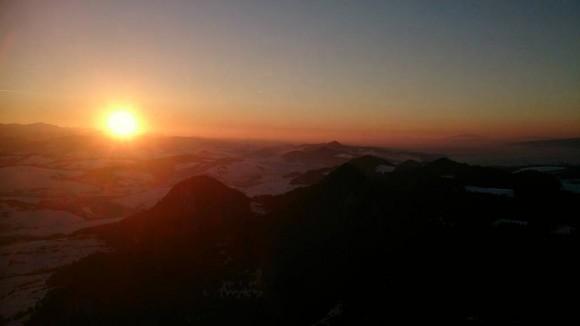 zachód słońca z Trzech Koron