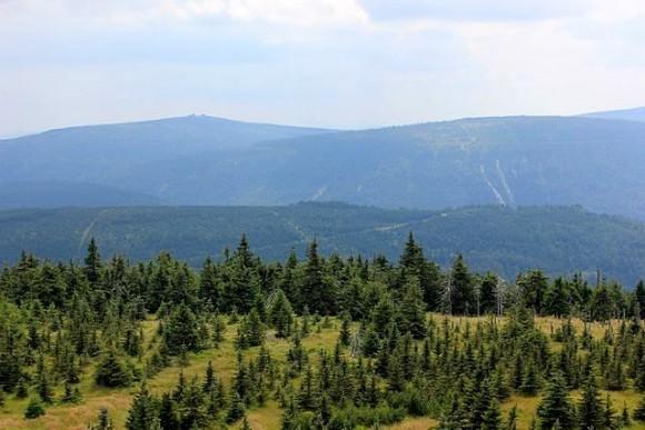 panorama zach. częsci Karkonoszy ze skałek