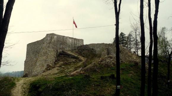 ruiny zamku muszyńskiego na wzgórzu Baszta