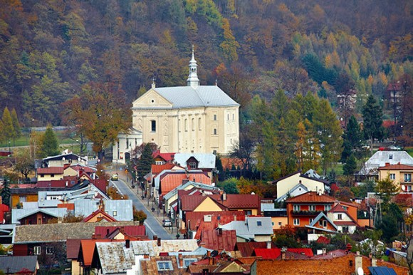 panorama miasta z kościołem św. Józefa ze wzgórza zamkowego
