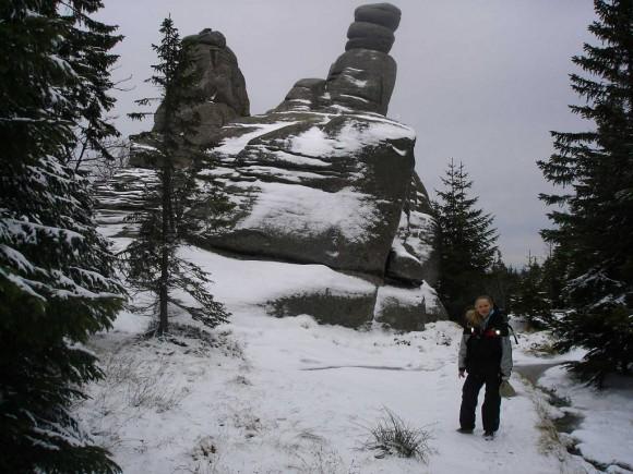turystka przy Pielgrzymach