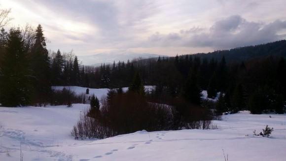 Polana nad Wierchomlą i pierwsze słabe widoki na Tatry