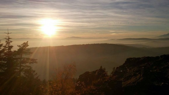 panorama przed zachodem słońca z Zielonej Skały